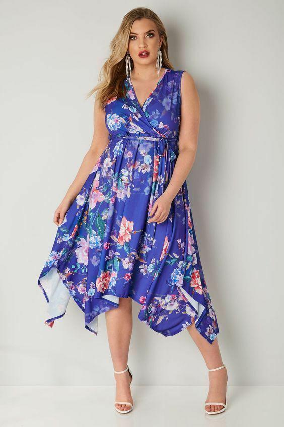 kleid gr.56/58 damen knielang blüten blau zipfelkleid