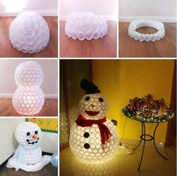 Snowman Out Of Paper Cups Inexpensive Diy Christmas Gifts