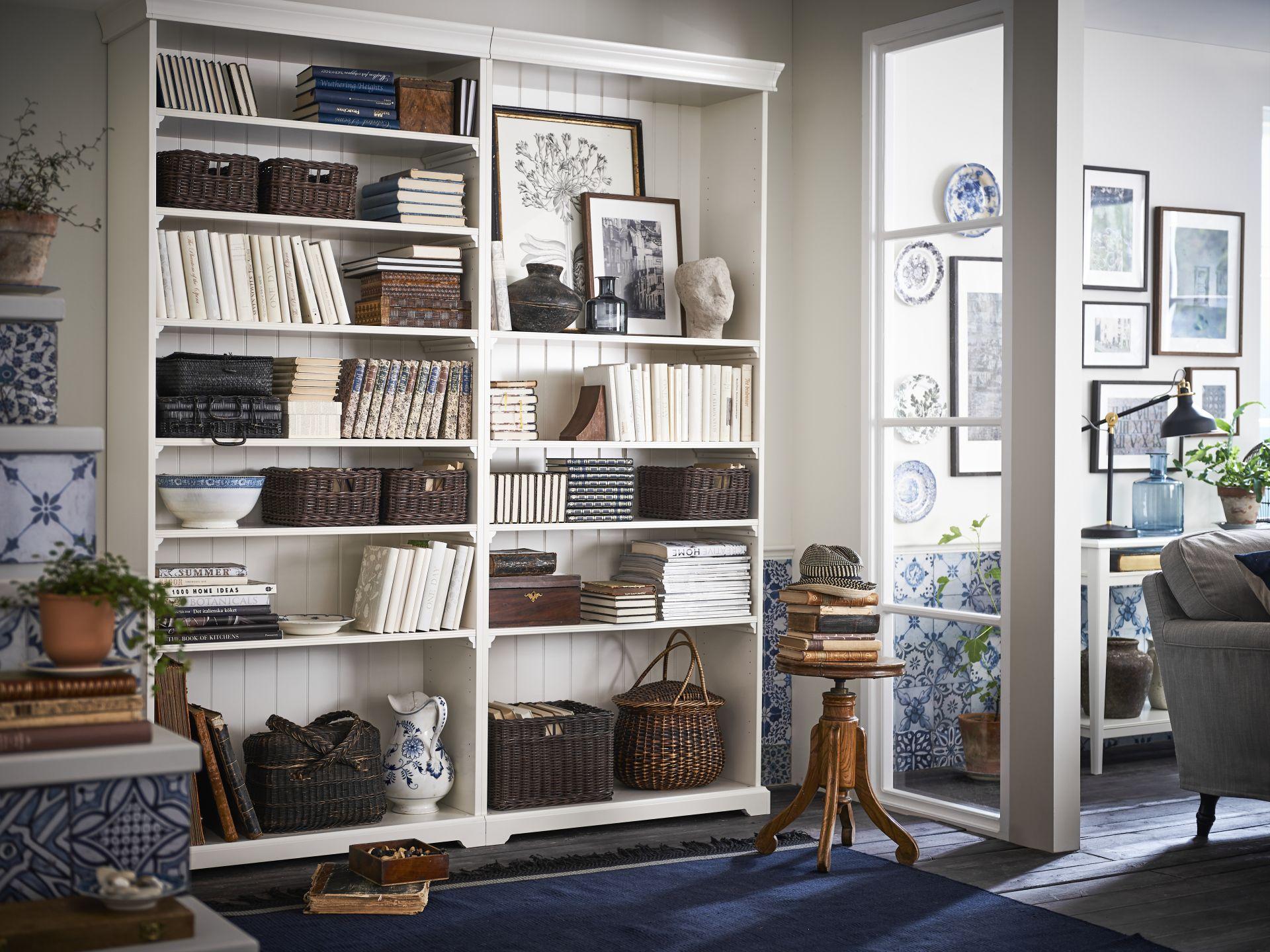 combimacion mueble salon libreria blanco ikea