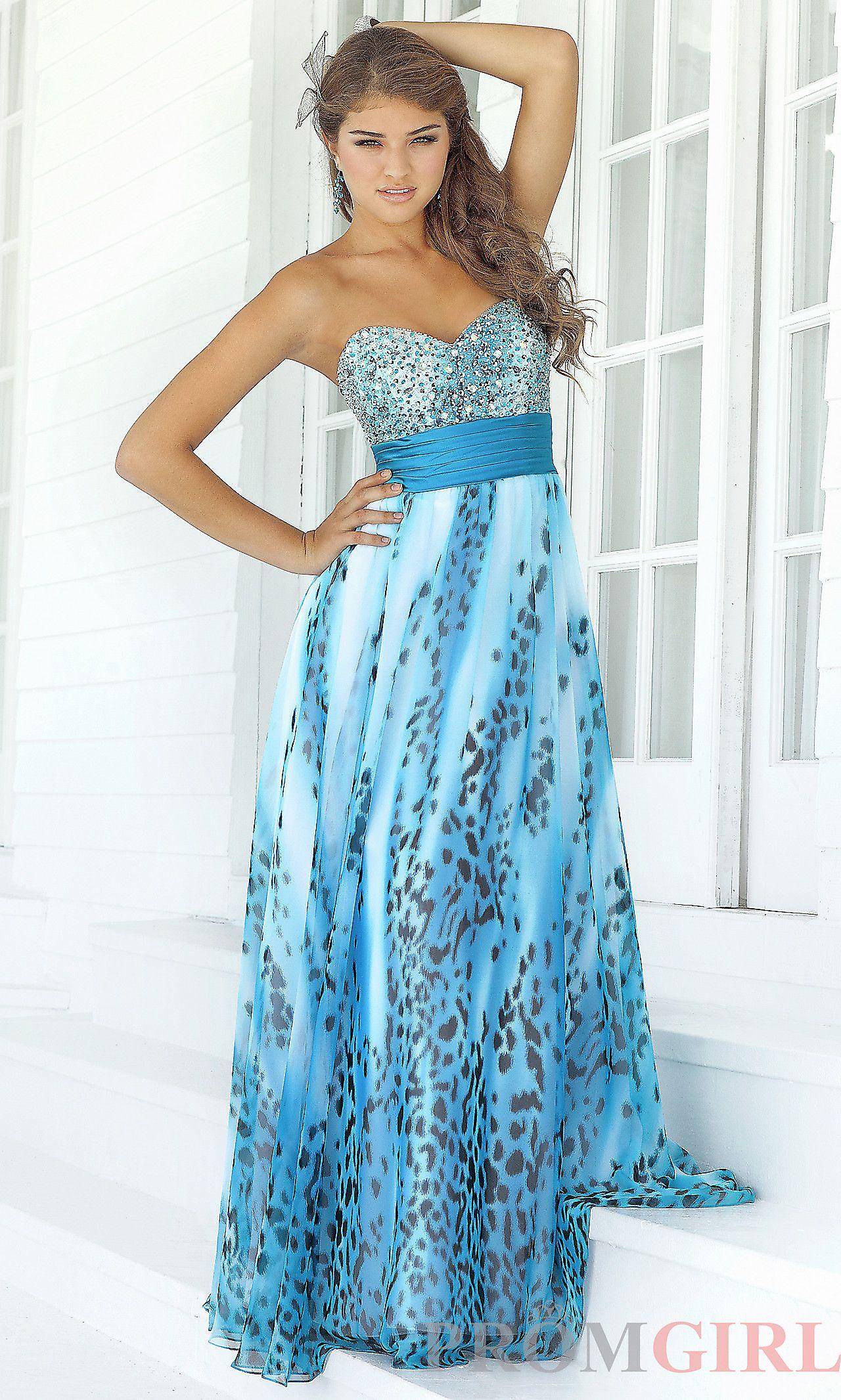 Long Strapless Blue Print Prom Dress by Blush 9387 | Shops, Blue ...