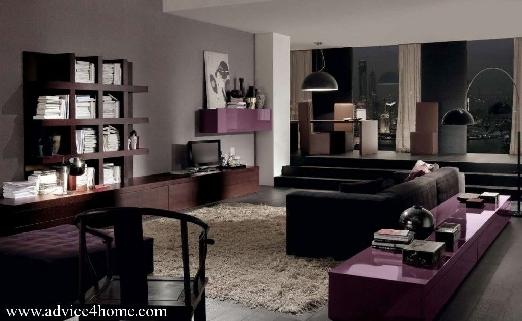 gray wall and black sofa and deep brown wall furniture in living ...
