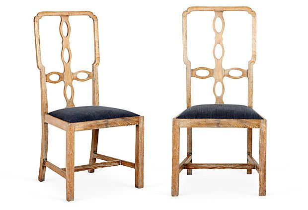 "Cross-Back Chairs, Pair Made of: oak/linenDimensions: 17''L x 20.5''W x 41''H; seat, 20.5""W x 16""D x 18""HColor/finish: natural"