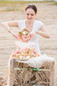 Mommy Daughter Beach Cake Smash Mermaid Birthday Party