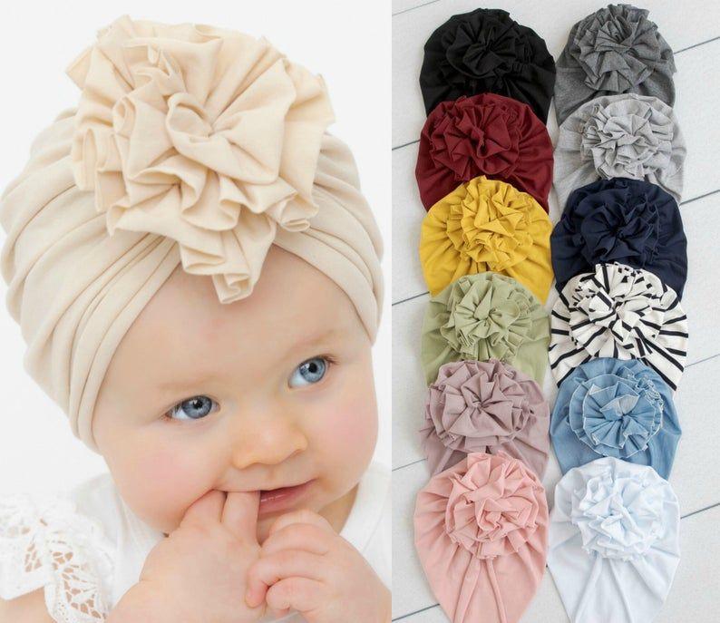 Baby Kids Girls Infant Toddler Turban Beanie Hats Caps Flower Head Wrap Headband