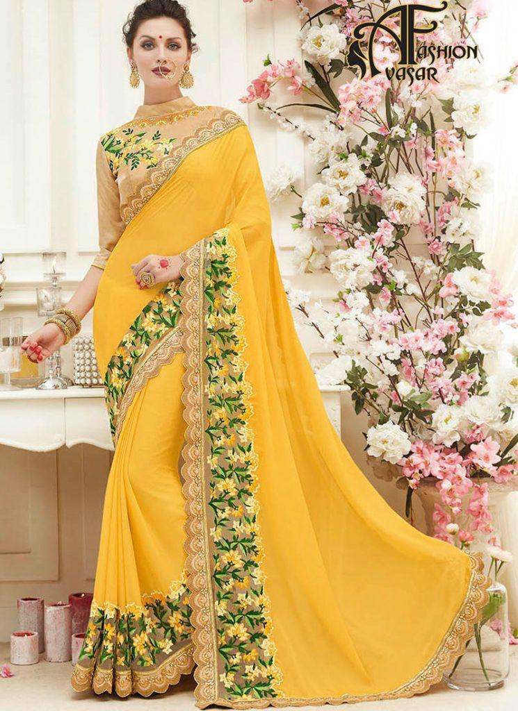 c31226b2bdaae2 shopping yellow sarees online – buy indian chiffon party wear saree at low  price