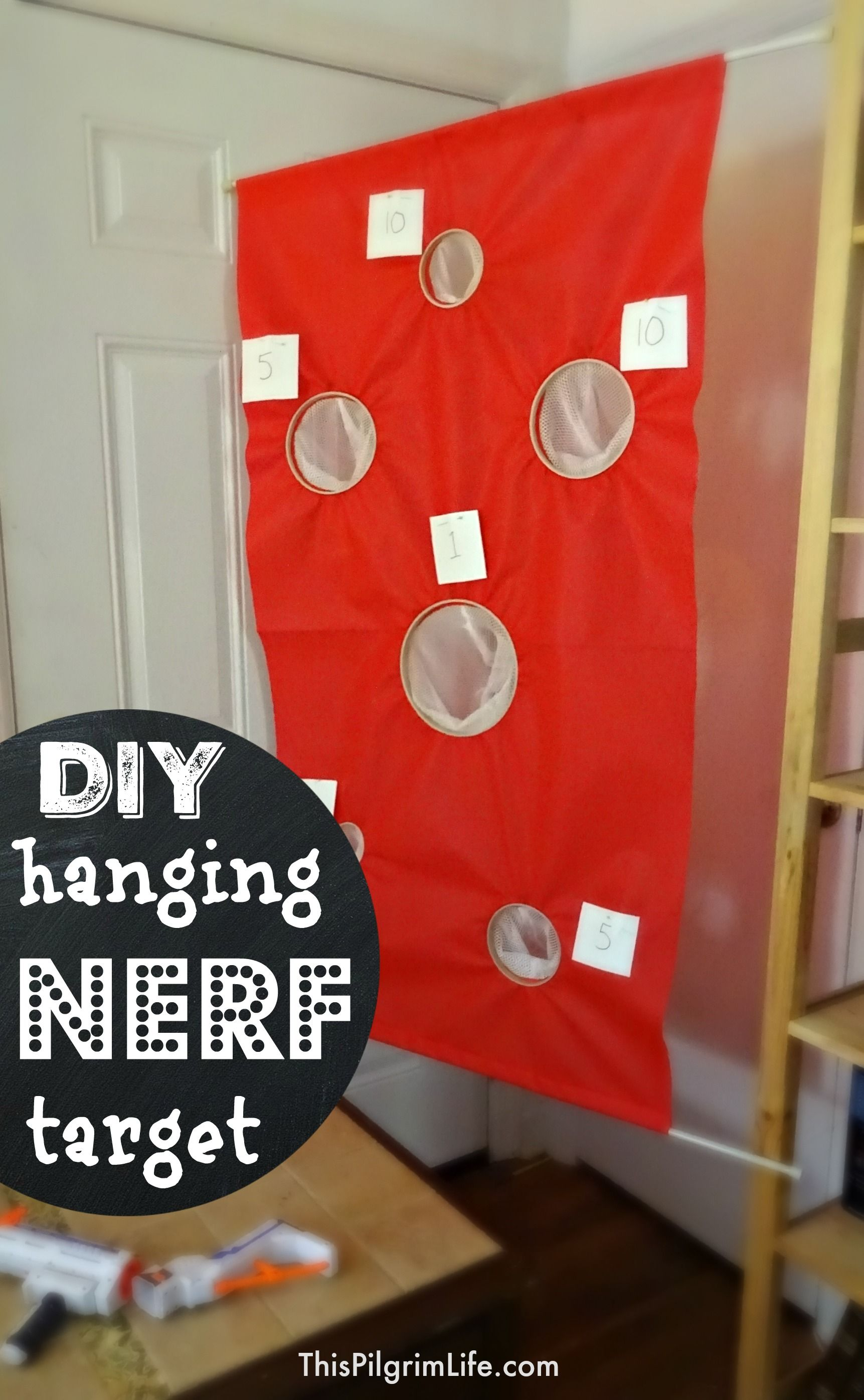 Make a simple hanging nerf tar with just a few inexpensive materials no sewing