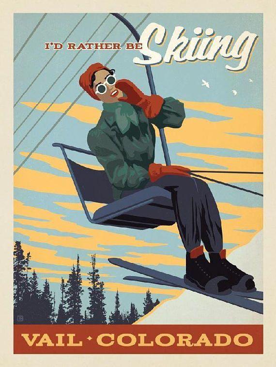 POSTER BORN TO SKI STOWE MOUNTAIN VERMONT SKIING USA VINTAGE REPRO FREE S//H