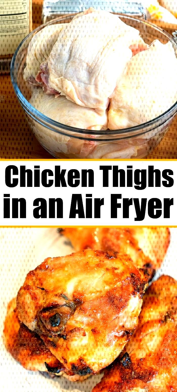 Best air fryer chicken thighs ever! Use this dry rub for chicken to make sweet and crispy chicken i