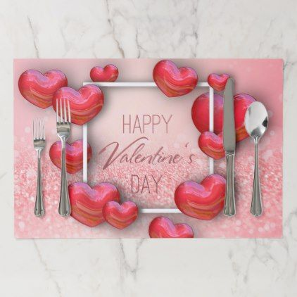 Valentine\'s Day Red Heart Glitter Paper Placemat - Saint ...