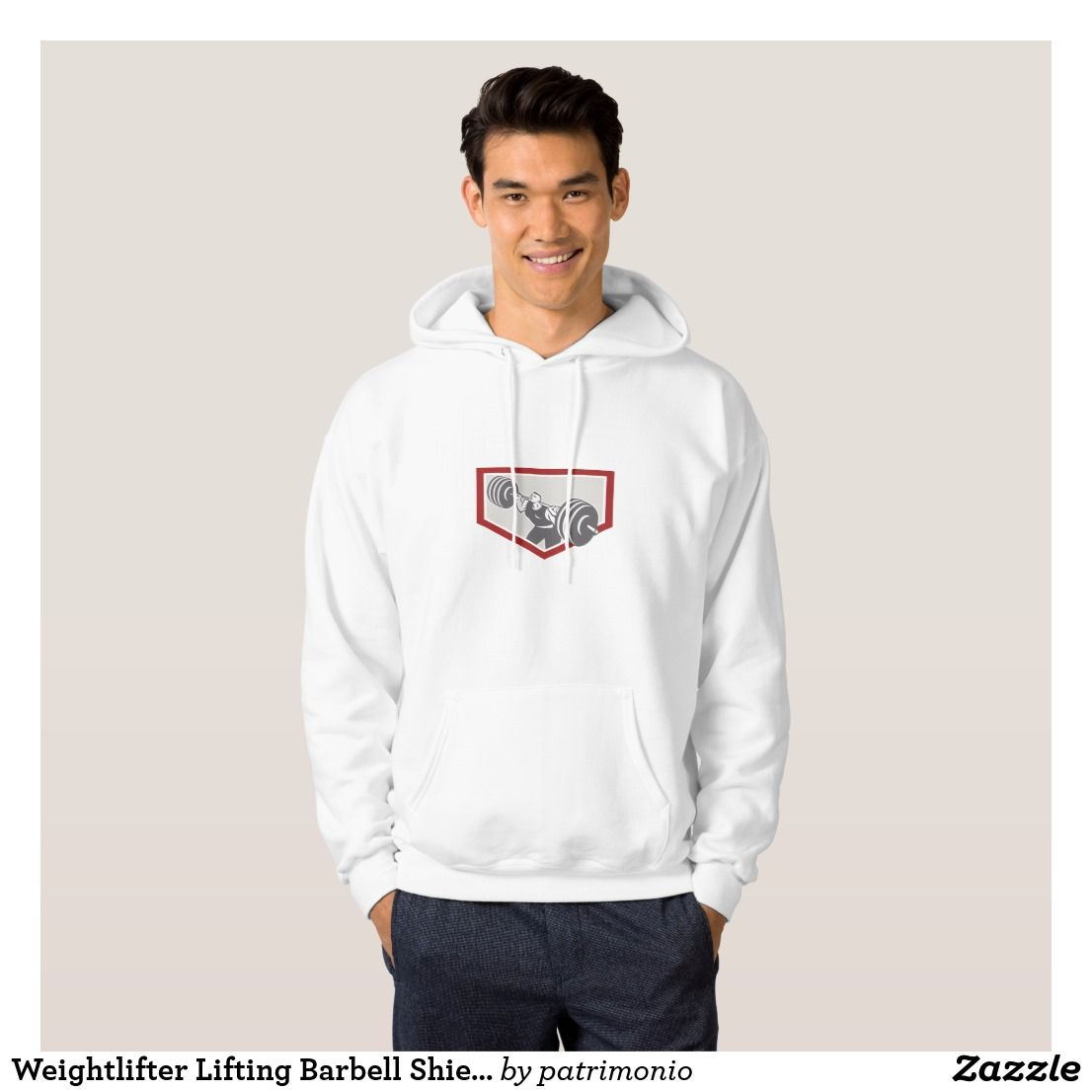 Weightlifter Lifting Barbell Shield Retro Hoodie. Hoodie for men with an illustration of a weightlifter lifting a barbell facing to the  front set inside a shield done in retro style on isolated white background. #weightlifter #barbell #hoodie