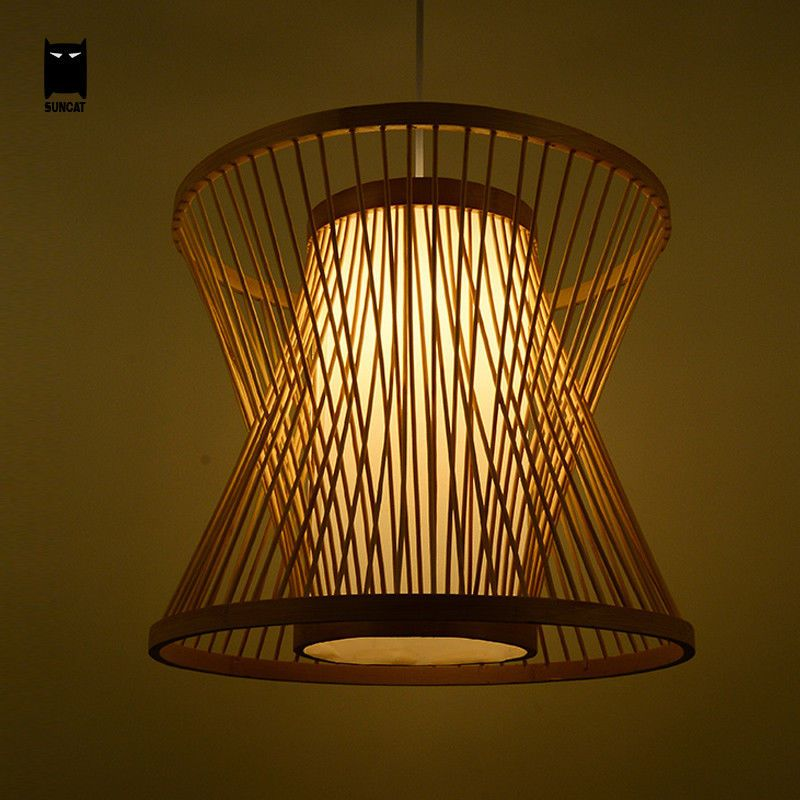 Bamboo Wicker Rattan Shade Pendant Light Fixture Asian Hanging Ceiling Lamp Room Soleil