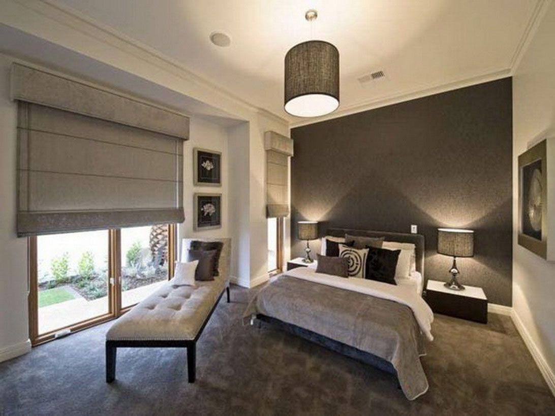 Master Bedroom Design Ideas For New Master Bedroom : Grey Bed Bench Grey  Centre Lamp Grey Blinds Grey Carpet Floor Master Bedroom Design Ideas