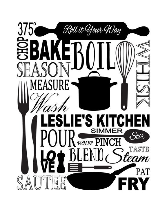 kitchen subway art print inspirational quote modern wall art 11 x 14 personalized name on kitchen quotes printable id=17767