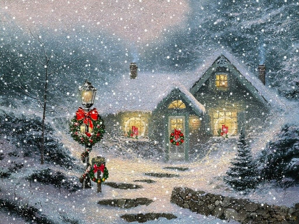 Free Christmas Cottage Scene - Christmas Wallpaper - Download The ...