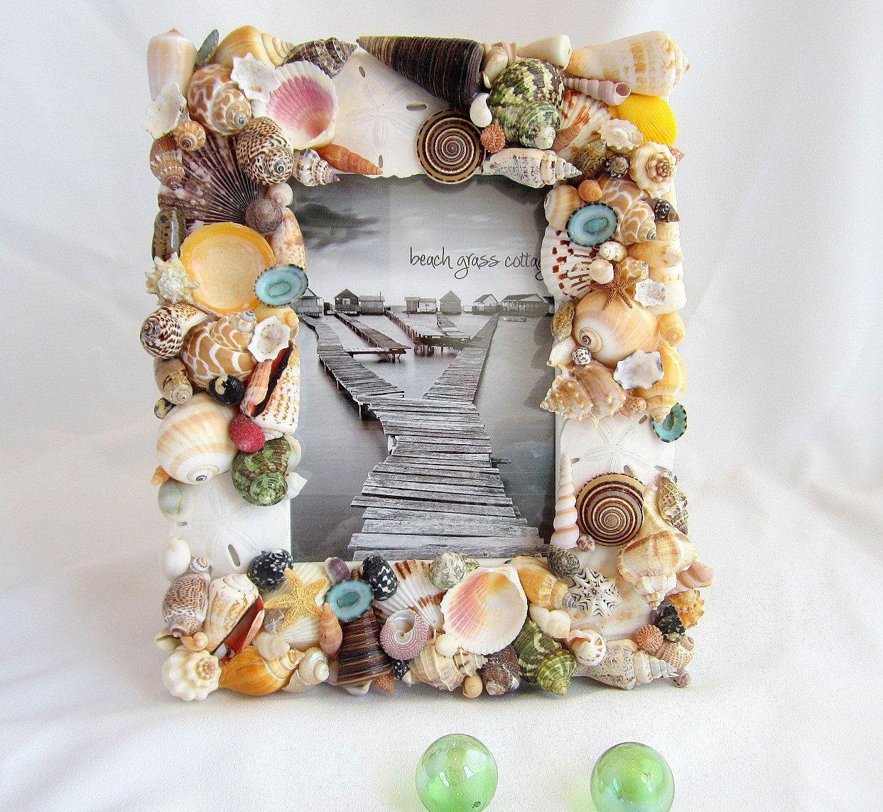 Beach Decor Seashell Frame Nautical Decor Colored Shell Picture Frame Coastal Decor Beach Wedding Gift Beach Wedding Frame 8x10 Seashell Frame Beach Wedding Gifts Sea Shells