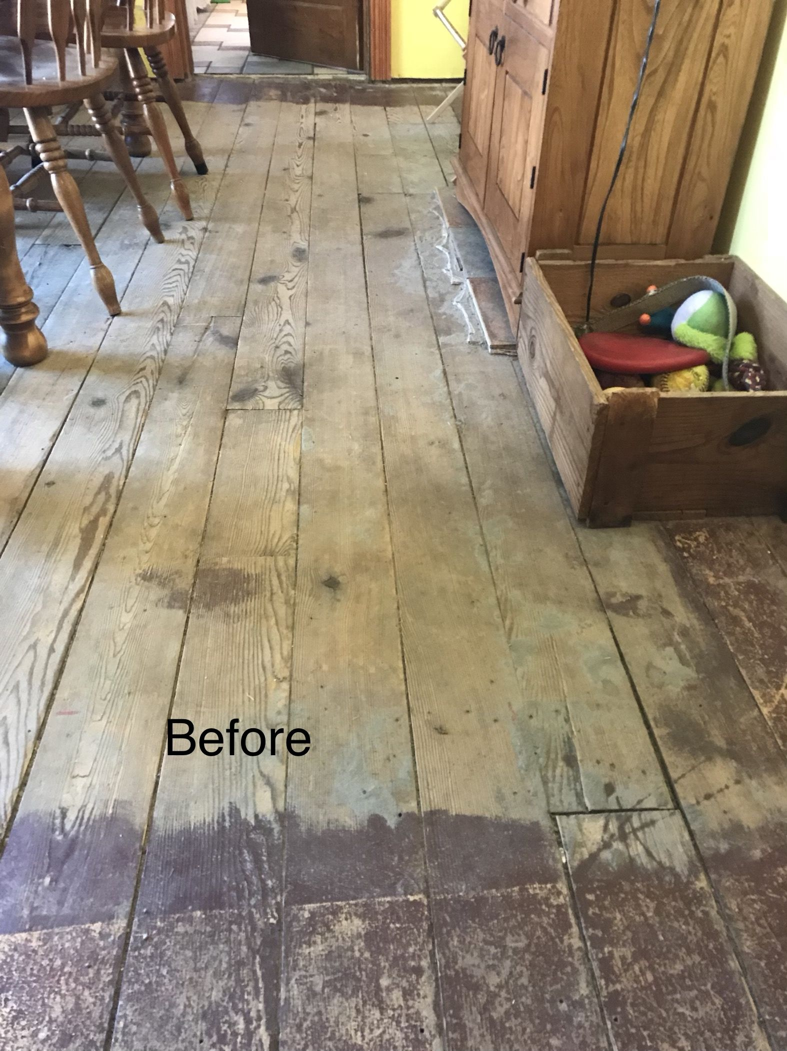 Downstairs During The Process Of Removing Old Tile Cement Board
