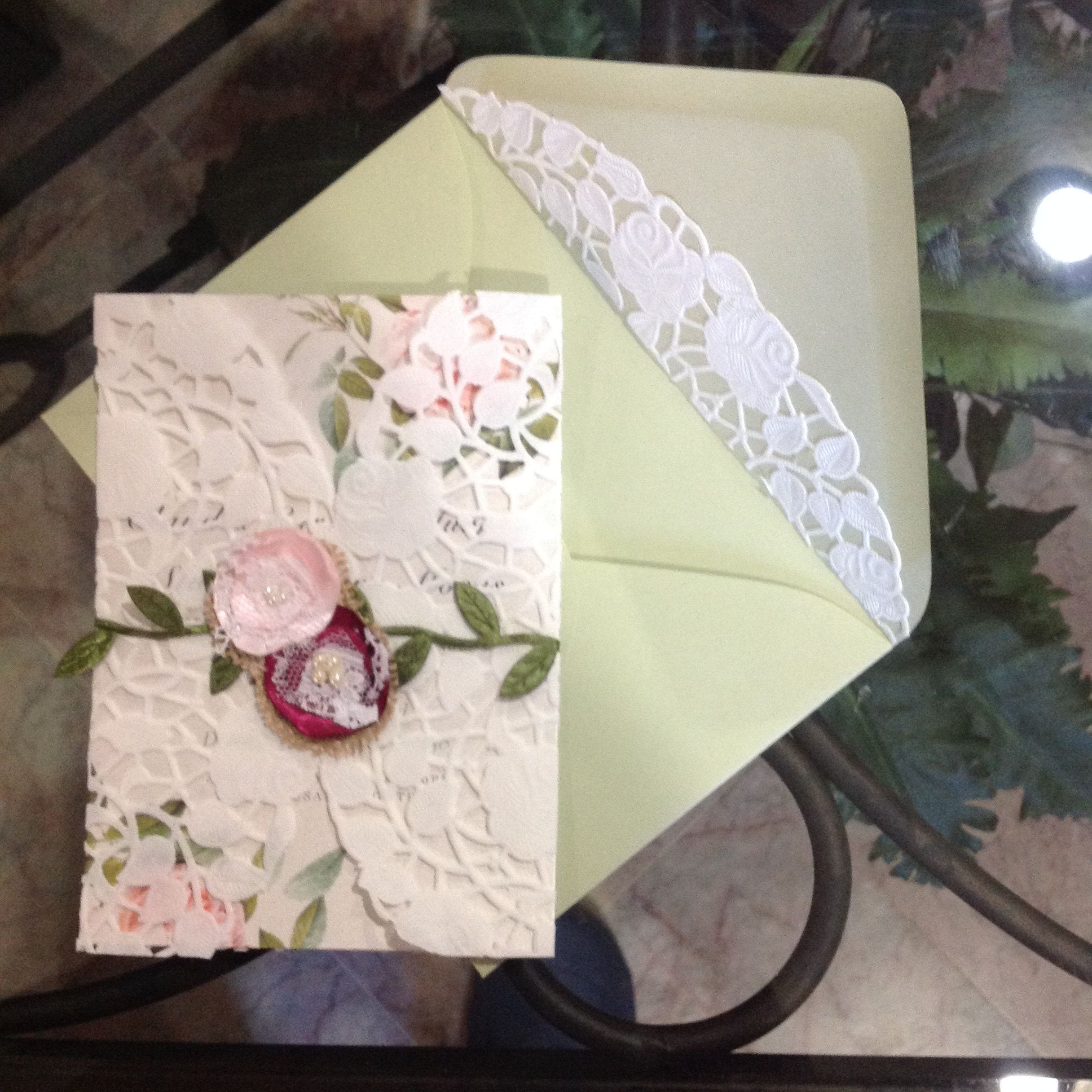Homemade doily wrapped invitation using ThePaperDoilyStore.com 10 ...