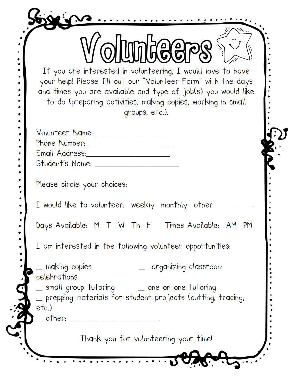 Volunteers Pdf Google Drive Classroom Volunteer Parents As Teachers Teaching Classroom