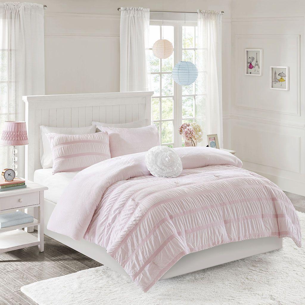 Bella Full/Queen Reversible Ruched Seersucker to Plush Comforter Set - Mi Zone MZ10-0576