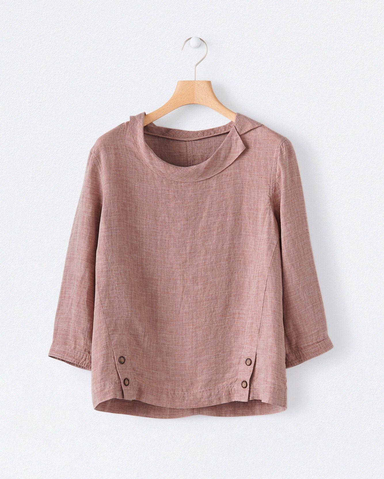 Image of Round collar linen top   Áo thời trang   Pinterest   Blusas ...