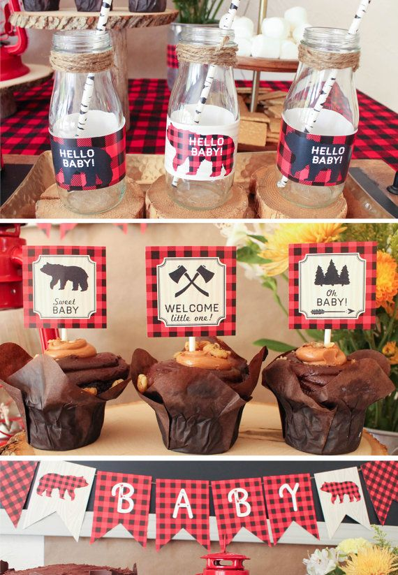 Lumberjack Baby Shower Decorations With Buffalo Plaid Banner Cupcake Toppers Games Centerpieces Welcome Sign Favor Tags Printable Lumberjack Baby Shower Plaid Baby Shower Buffalo Plaid Baby Shower