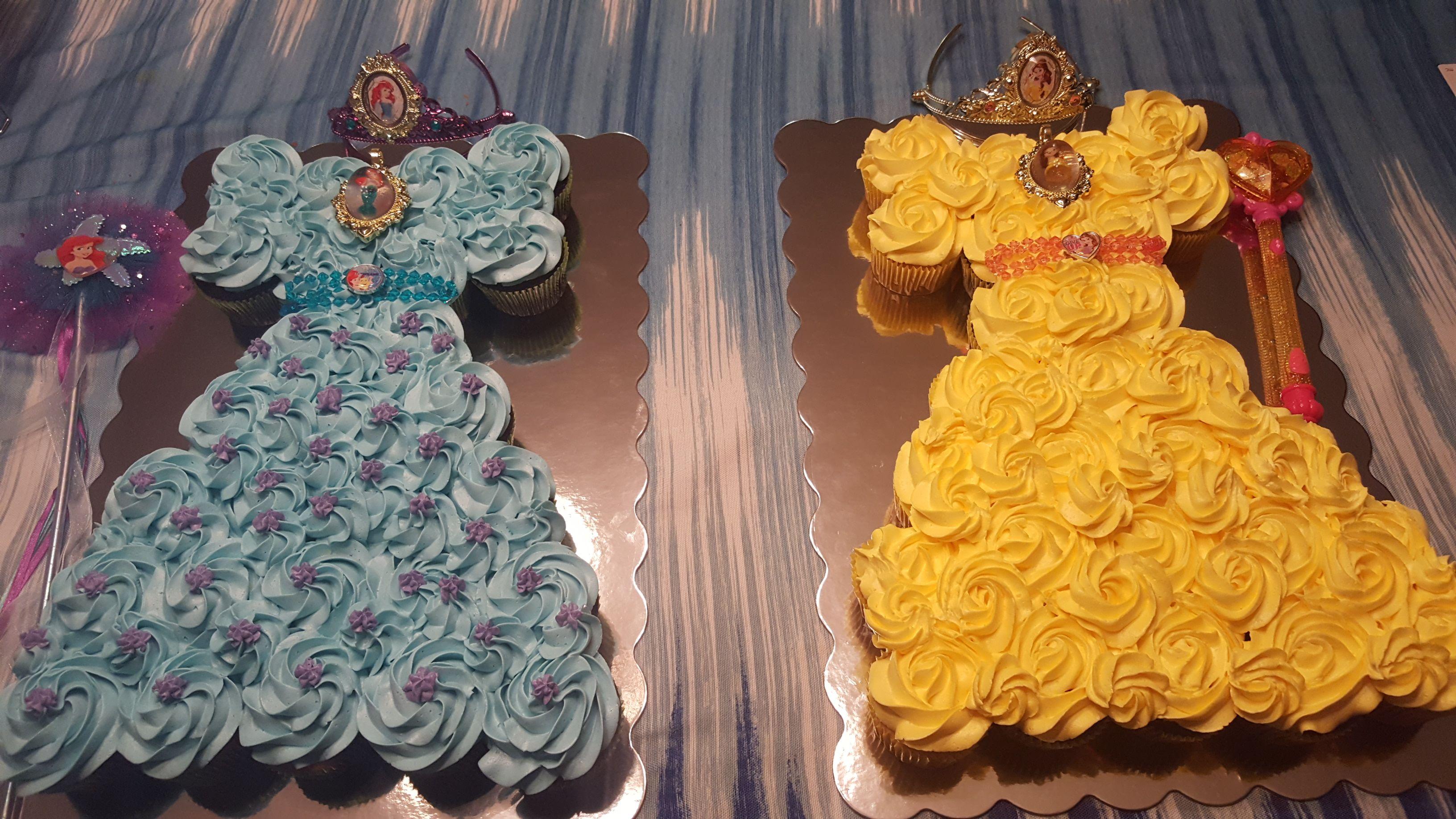 Strange Princesses Ariel And Belle Pull Apart Cupcake Cakes Belle Funny Birthday Cards Online Inifodamsfinfo