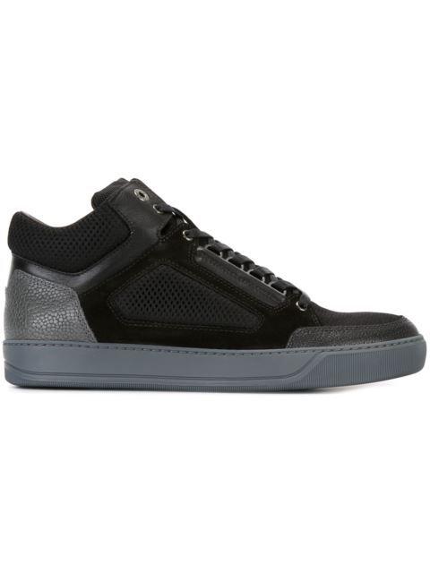 LANVIN Textured Hi-Top Sneakers. #lanvin #shoes #sneakers