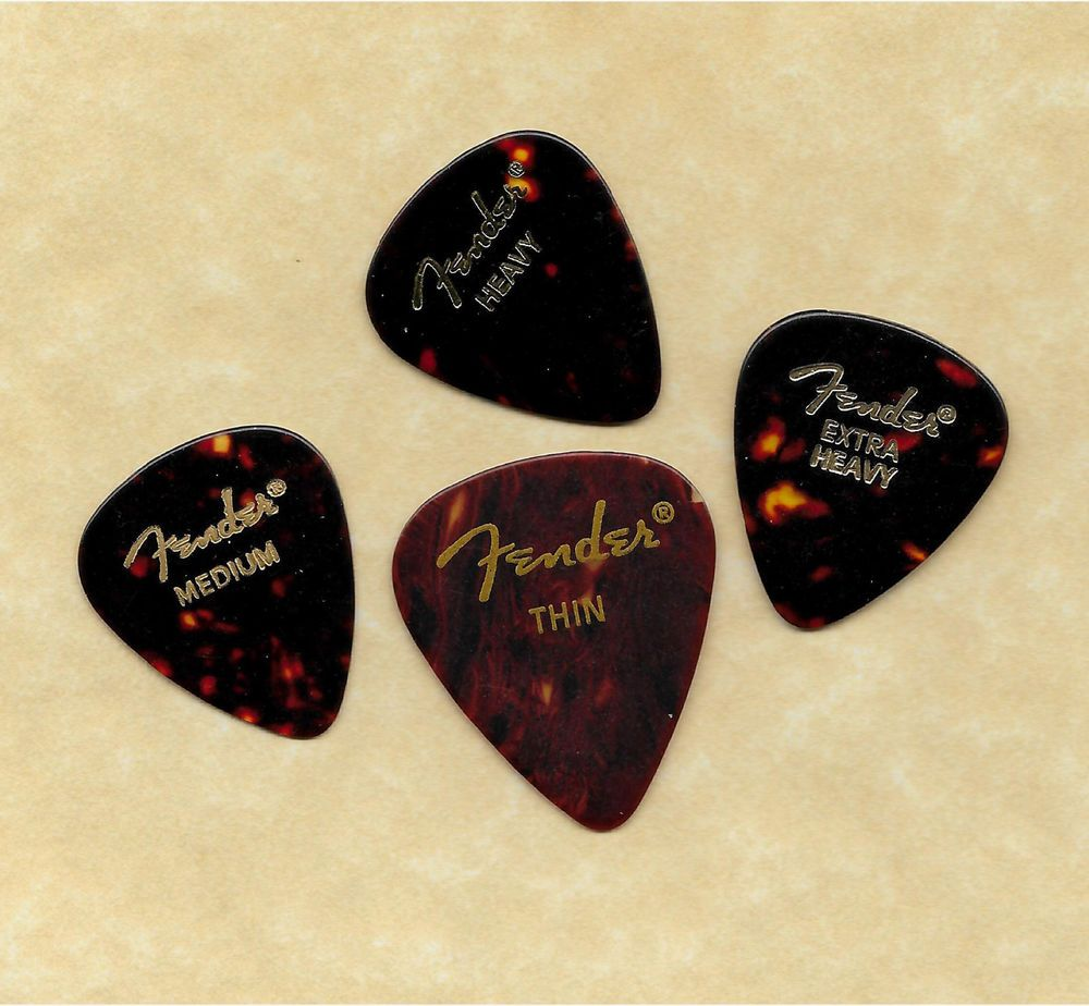 12 x Abalone Fender Celluloid Guitar Picks 4 Of Each Size In A Plectrum Tin