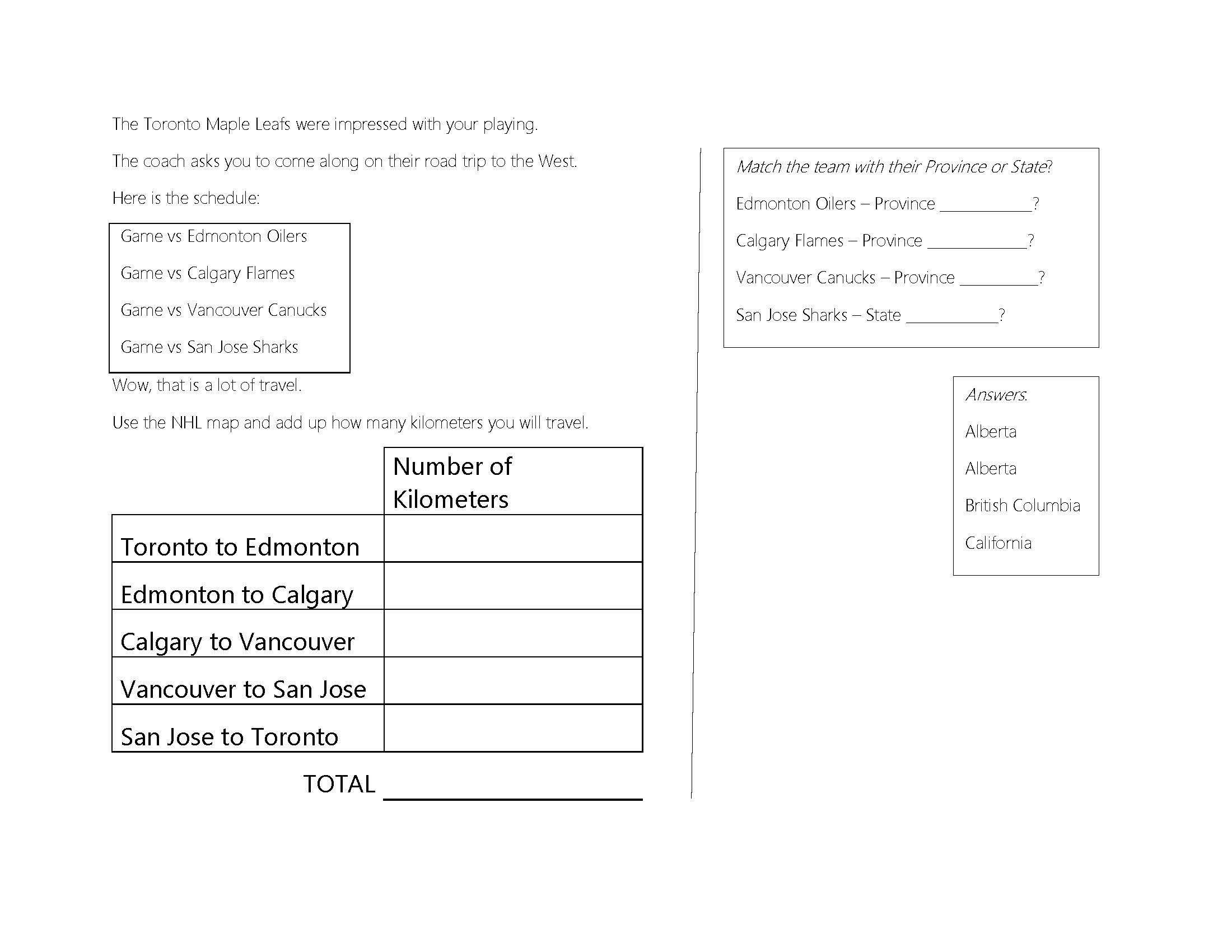 Nhl Hockey Themed Worksheets For Math And Geography