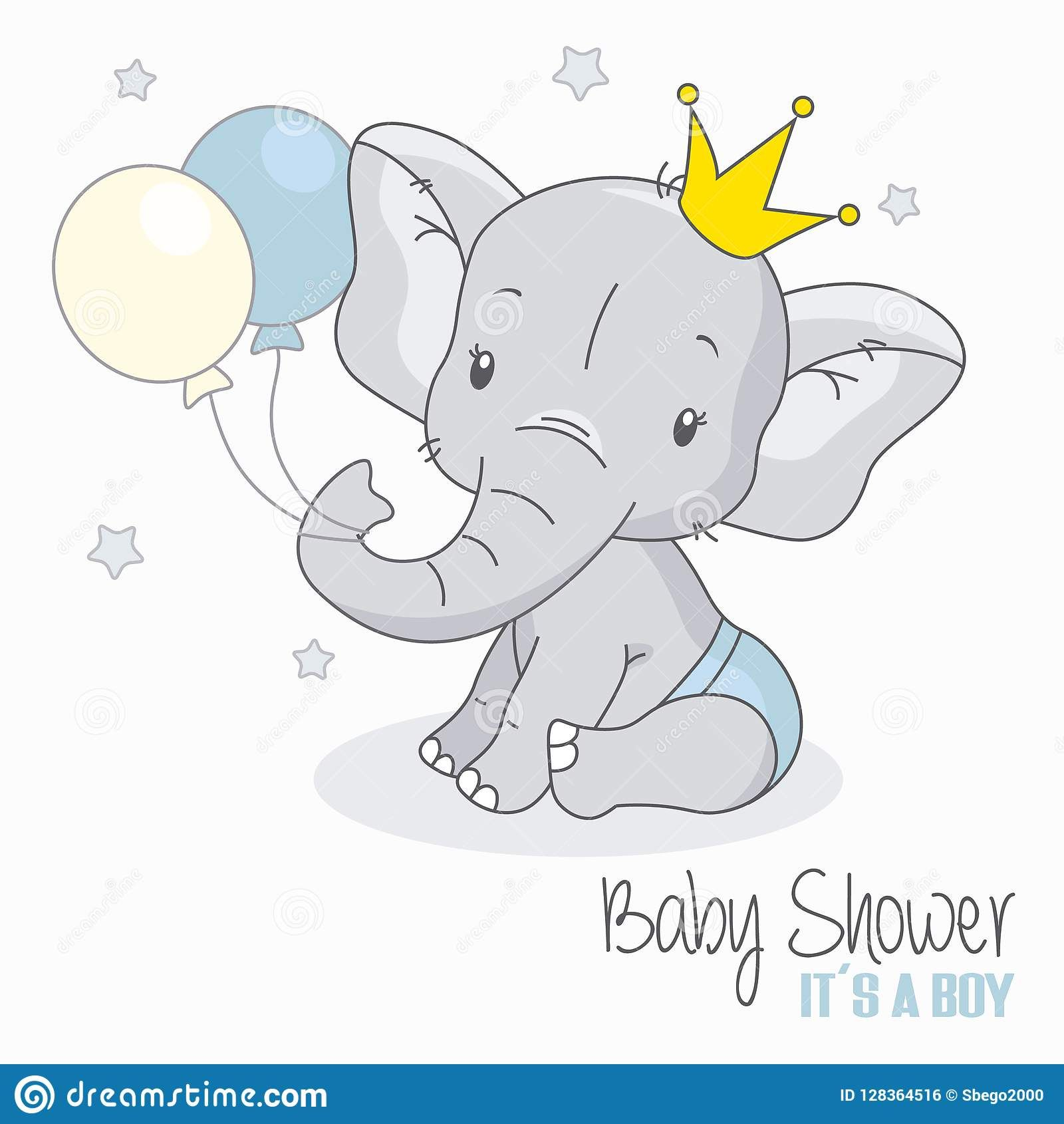 Illustration About Baby Shower Boy Cute Elephant With Balloons Illustration Of Vector Celebrati Baby Elephant Drawing Elephant Baby Shower Boy Cute Elephant