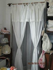 double rideaux drap ancien en lin initiales rn textiles et tapis par tende by eliana. Black Bedroom Furniture Sets. Home Design Ideas