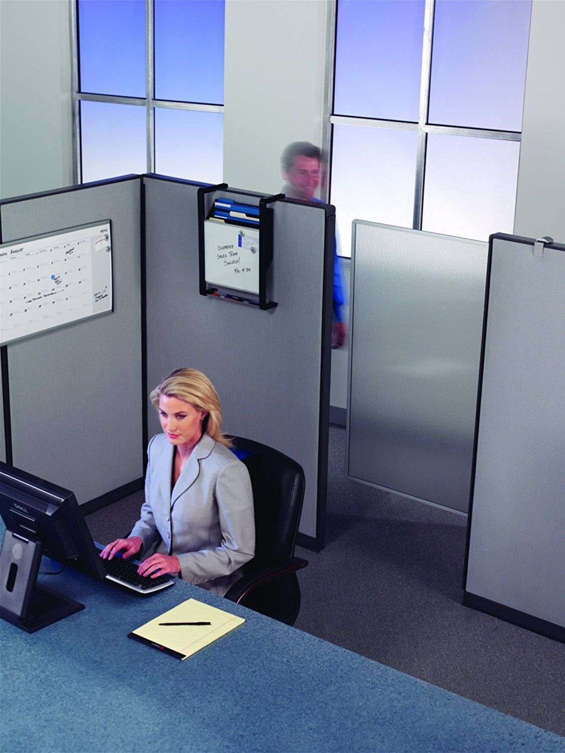 This privacy screen easily attaches to your cubicle
