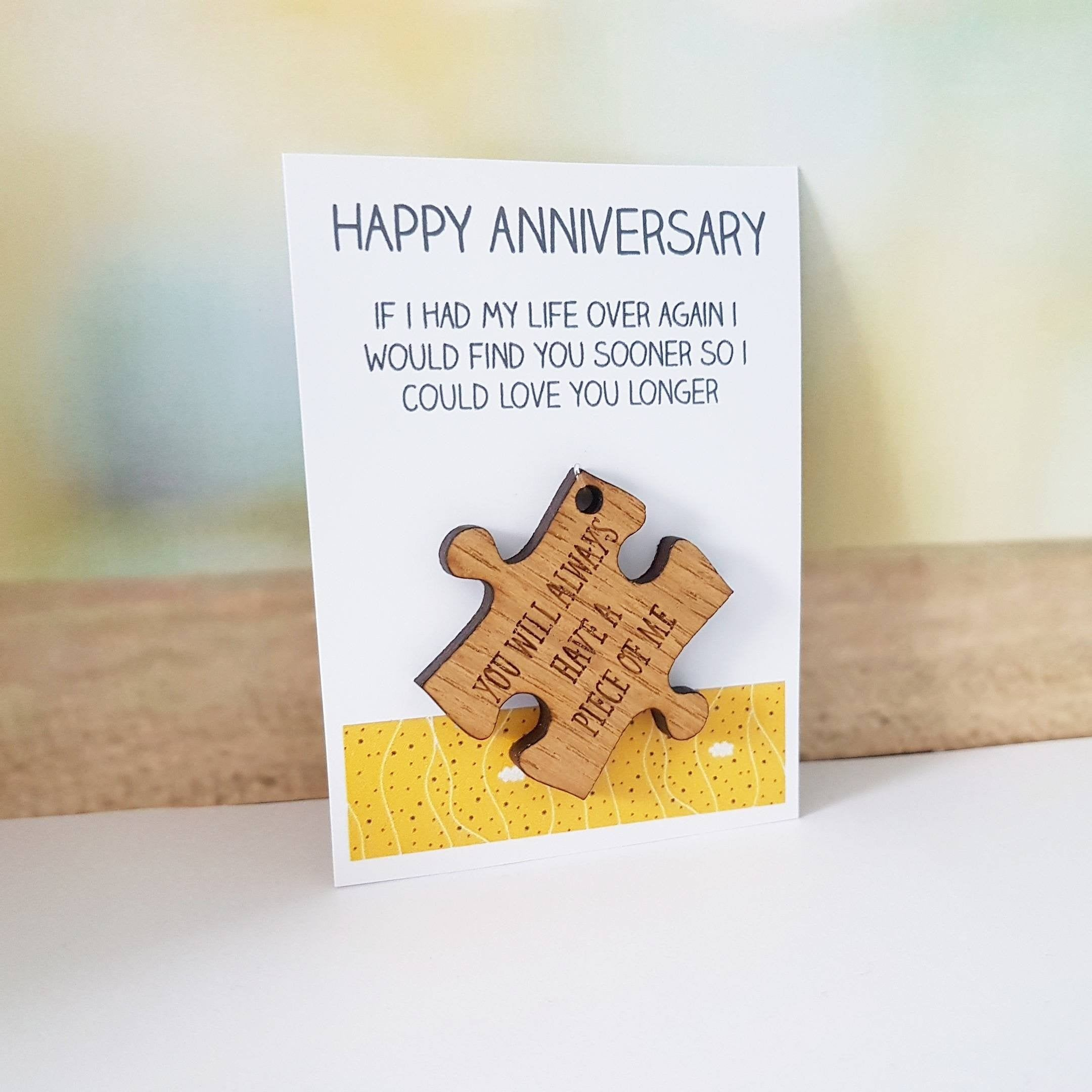 Happy anniversary card and gift wife husband wood wooden