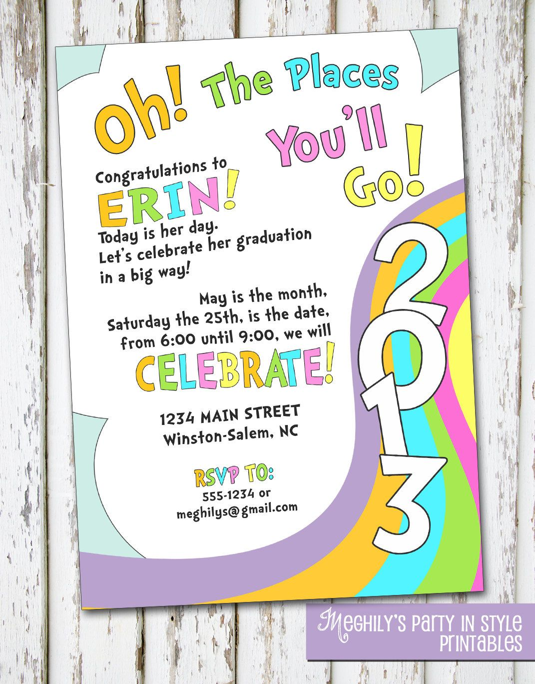 School. Oh  The Places You ll Go   graduation invitation   10 00  via Etsy