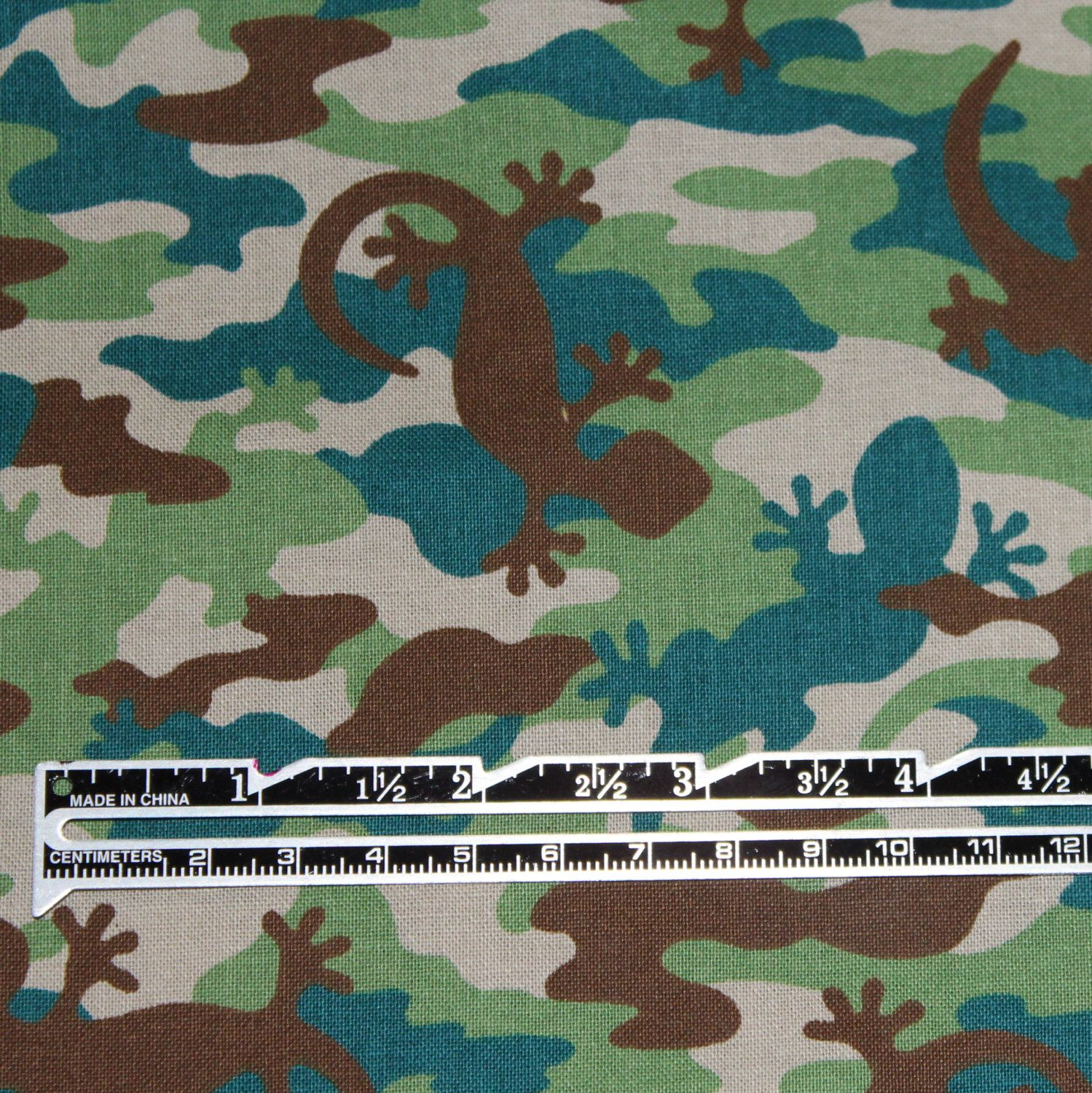 "Camo Lizard Fabric for JoAnn Fabrics END OF BOLT 31.5"" x 44"" 100% Cotton Apparel Camo Tossed Lizards Boys Fabric by JacobandChloesLLC on Etsy"