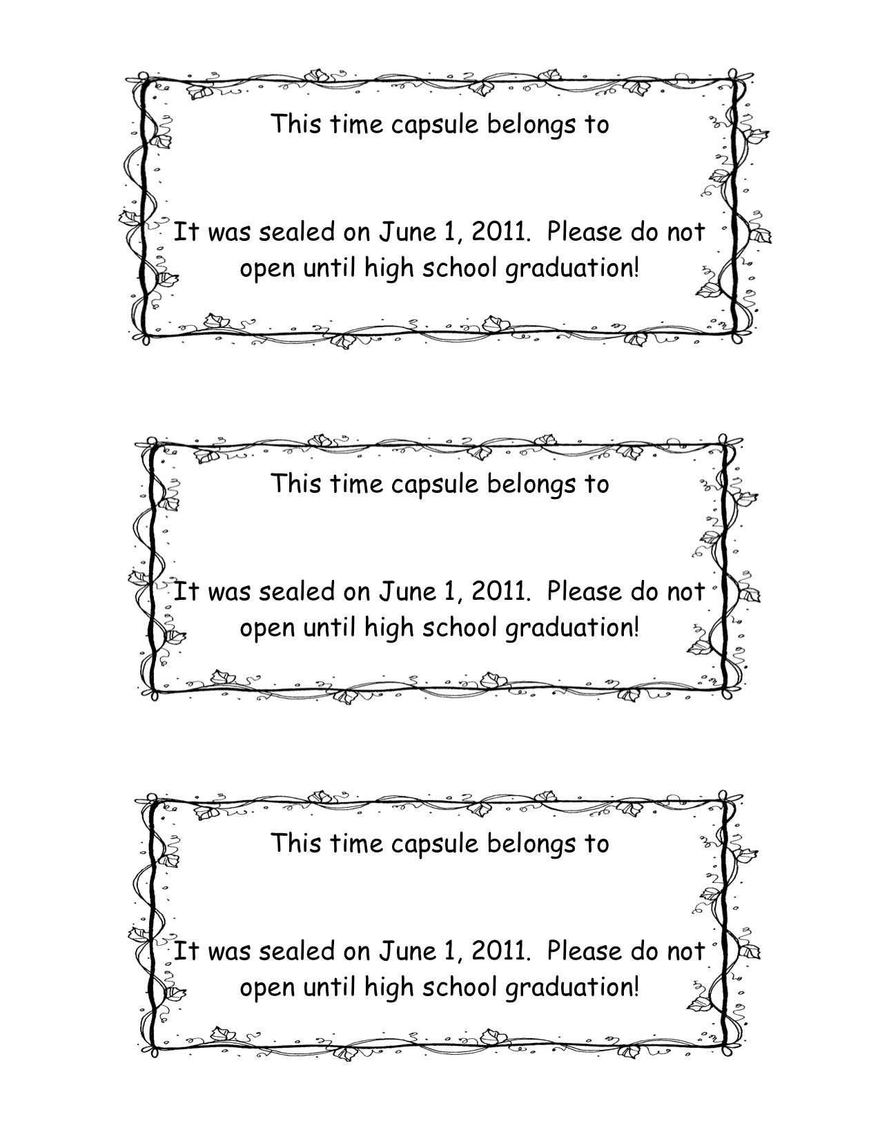 Worksheets Time Capsule Worksheet time capsules kindergarten activities and school graduation capsule