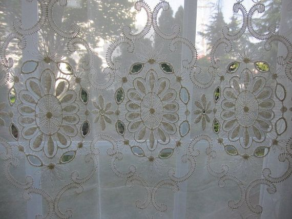 Vintage Lace Curtain Sheer Macrame Lace By TheCottageWay On Etsy, $36.50