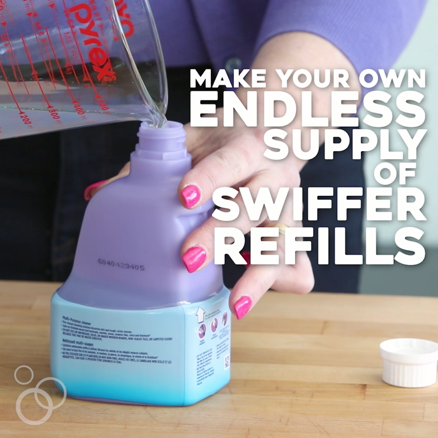 "Save yourself some money AND save resources by making your own REUSABLE cleaning pads and cleaning solution. These ""hacks"" are so simple you'll be smacking your forehead! Tips for both the Swiffer Sweeper and the Swiffer WetJet."