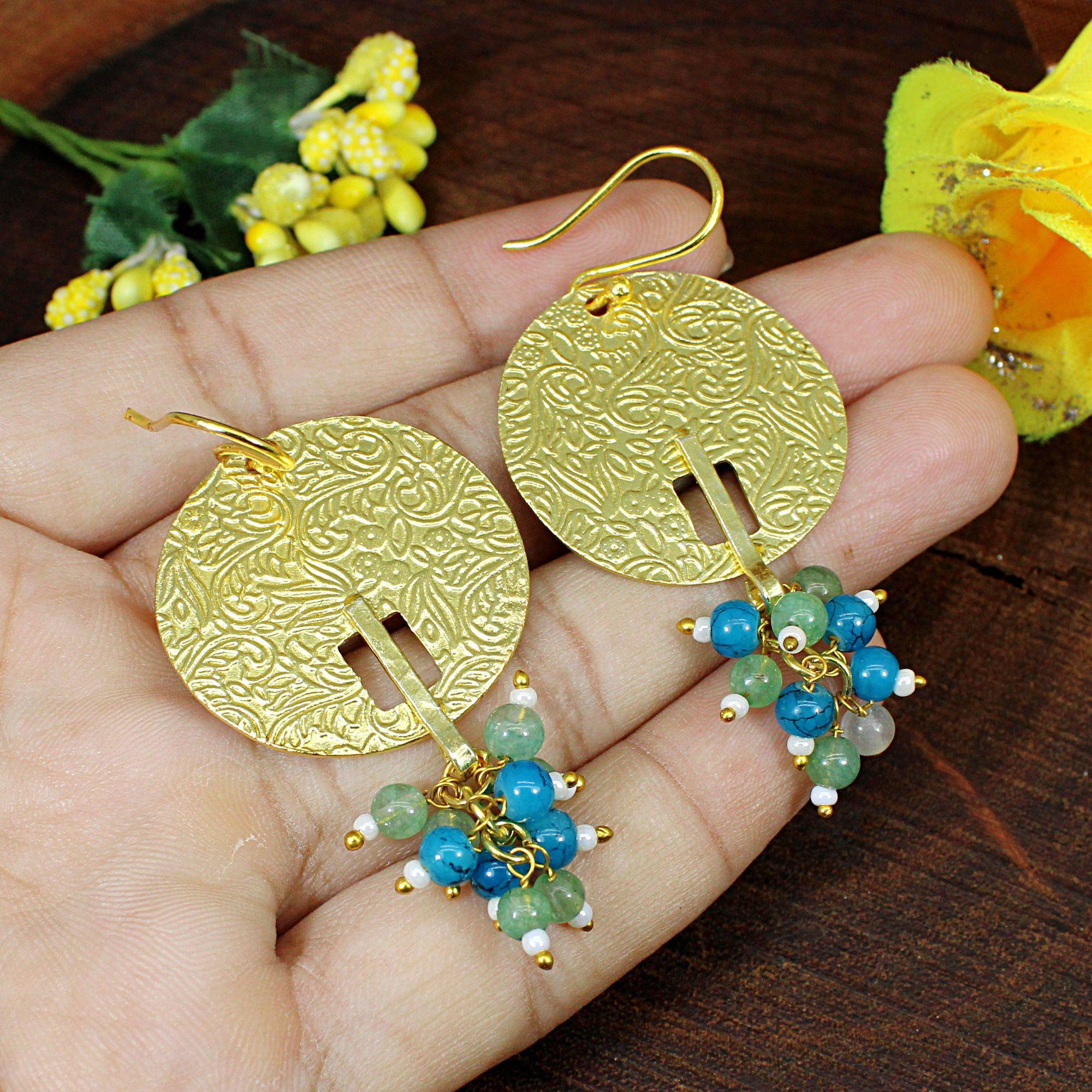 Multi color quartz Earrings  Gold Electroplated  Boho Jeweley  Gemstone Earrings Gift for women