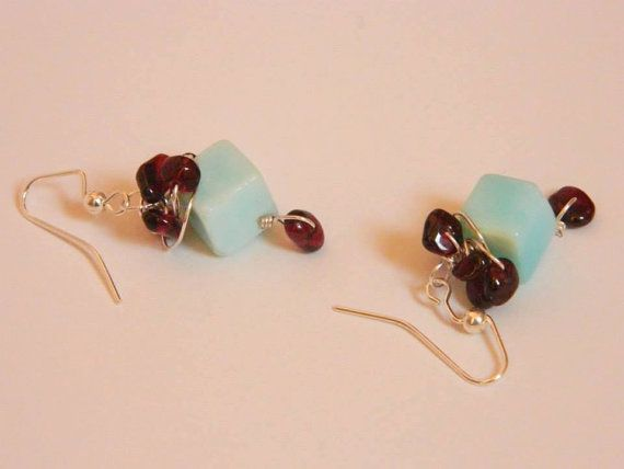 SemiPrecious Stone Earrings  Peruvian Opals & by yazberryfashion, $35.00