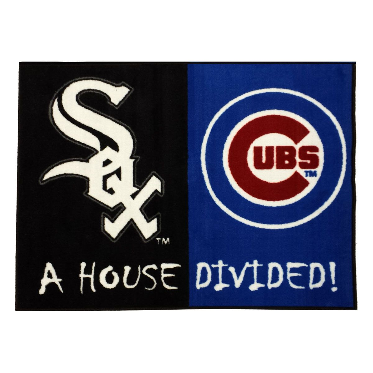 mlb white sox-cubs rug baseball house divided carpet
