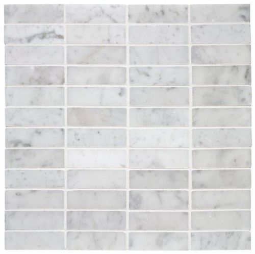 $11.15SF Carrara Marble 1x3 Stacked Mosaic Tile