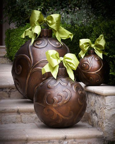 3y2r outdoor christmas ornaments oversized christmas ball ornaments with an earthy bronze finish add