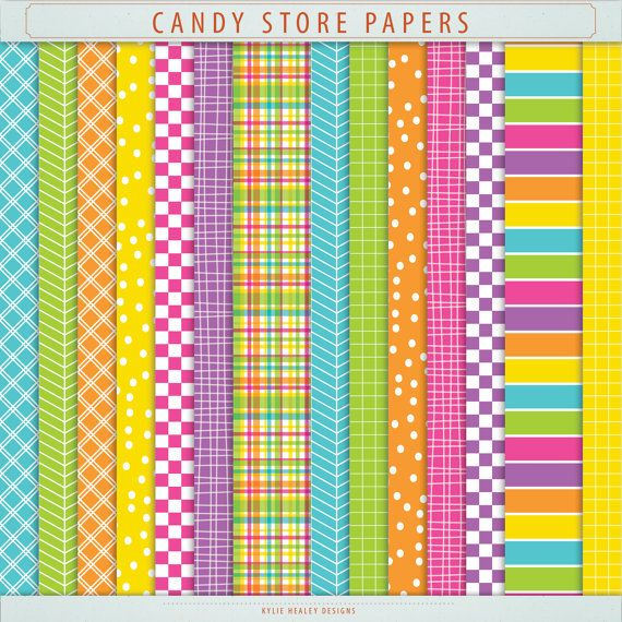 Digital Paper Pack  Bright Candy Store Pink by KylieHealeyDesigns, $3.00