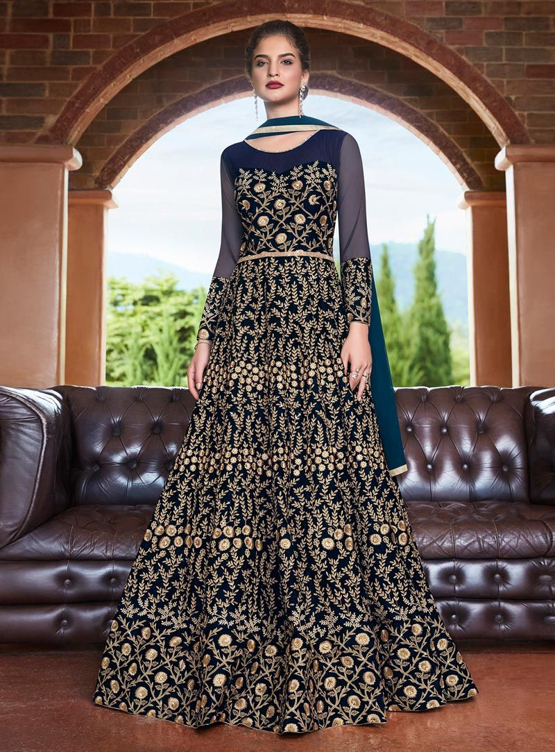 Buy navy blue velvet abaya style anarkali suit 147069