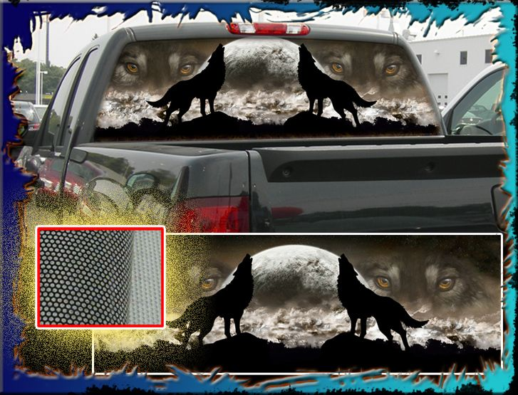 WOLF Truck Rear Window Graphic Free Add Text Free Add X - Rear window decals for trucks