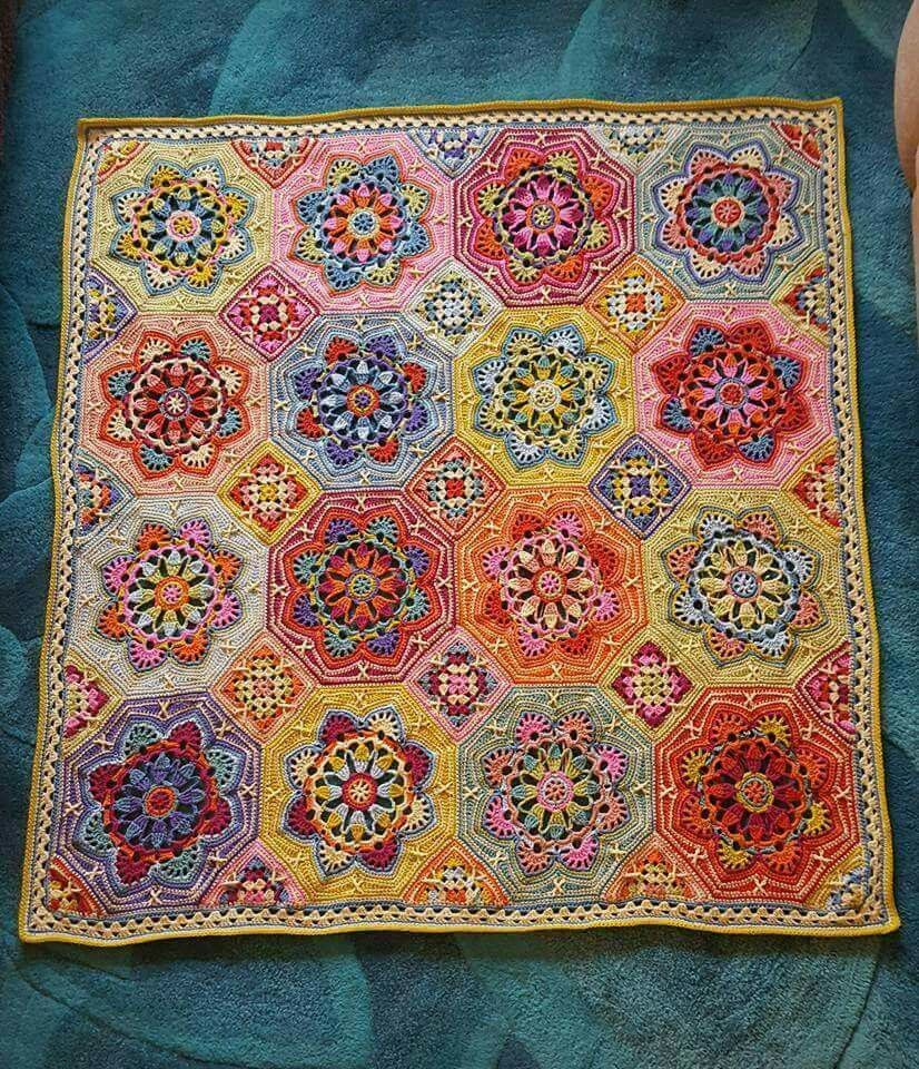 This might be the first finished Eastern Jewels afghan by Caroline ...