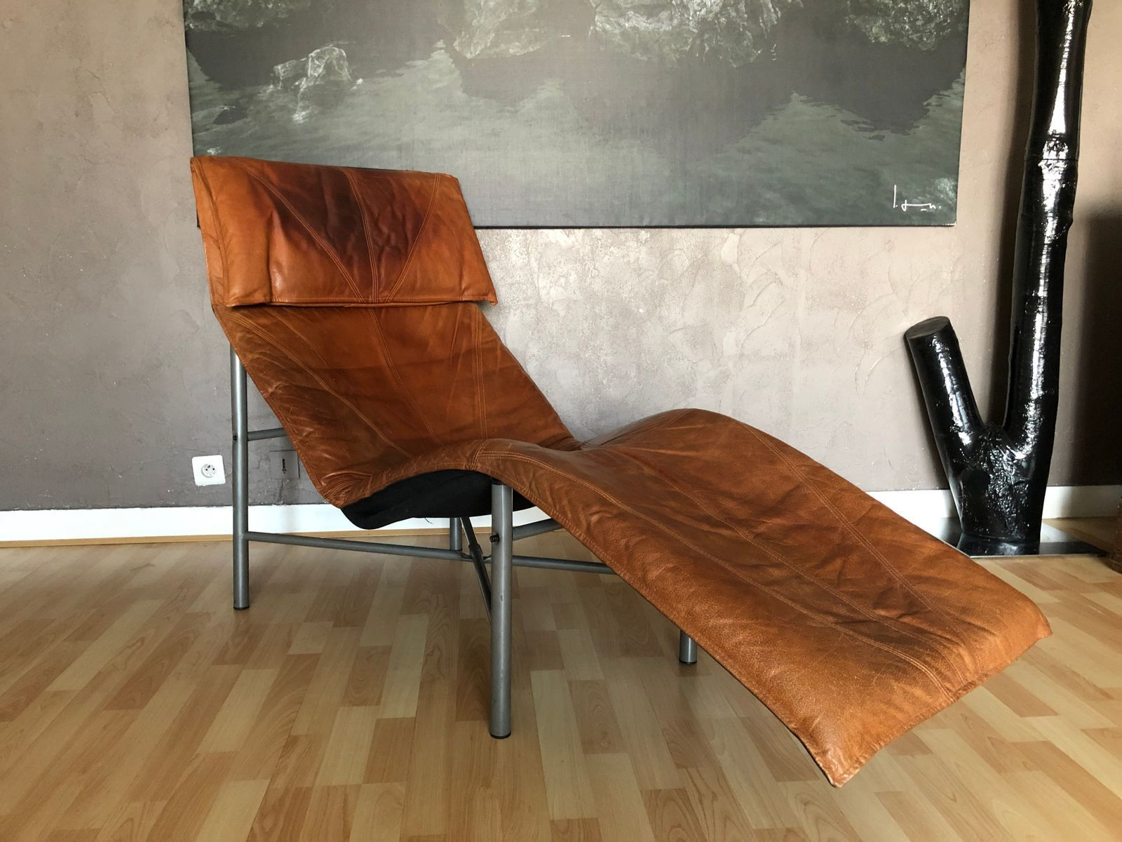 Vintage Cognac Leather Lounge Chair by Tord Bjorklund for