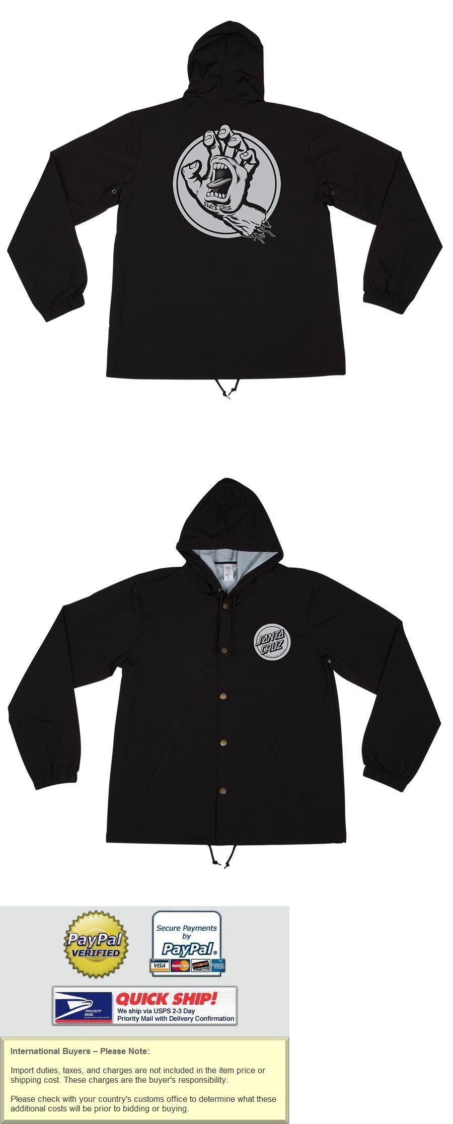Men 159067: Santa Cruz Handled Hooded Windbreaker Jacket Black Xl BUY IT NOW ONLY: $44.95