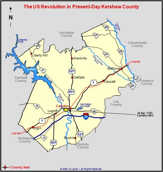 Camden South Carolina Map on